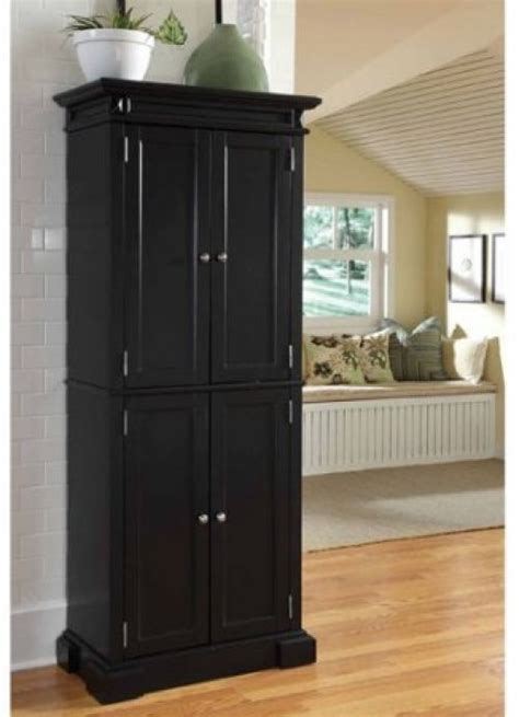 storage cabinet pantry tall  door black wood cupboard