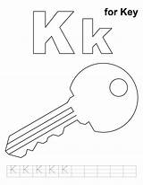 Key Coloring Pages Printable Alphabet Letter Practice Colouring Handwriting Template Sheets Keys Preschool Letters Worksheets Activities Crafts Keyhole Outline Words sketch template