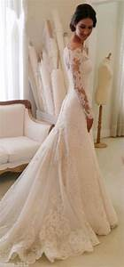 white off the shoulder lace long sleeve bridal gowns With simple off white wedding dress