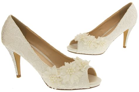 Ladies Ivory Bridal Heels Lace Satin Wedding Shoes Diamante Court Sz Size 3 4 5
