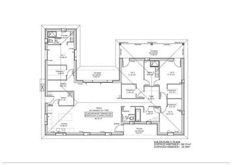 plan maison plain pied 4 chambres décoration plan maison 4 chambres plain pied 160 m2 92