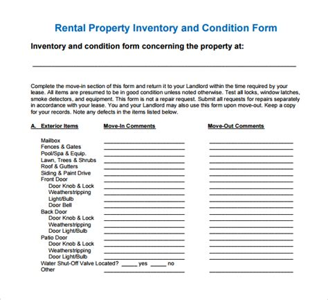 Inventory For Rental Property Template by 13 Rental Inventory Templates Sle Templates
