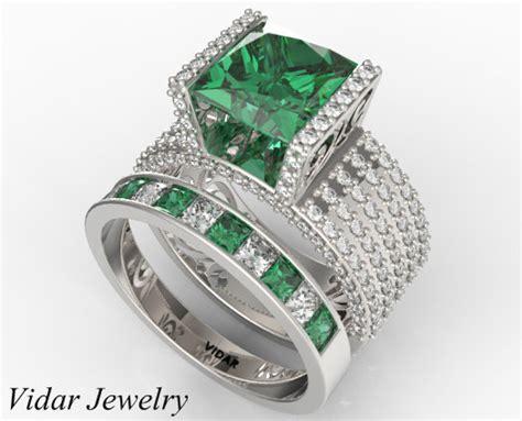 dazzling emerald diamond wedding ring set  white gold