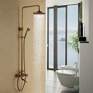 Antique Brass Tub Shower Faucet With 8 Inch Shower Head