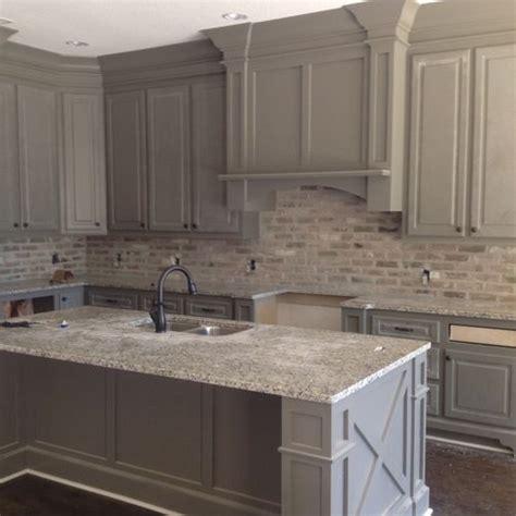 love  brick backsplash color   grey cabinets
