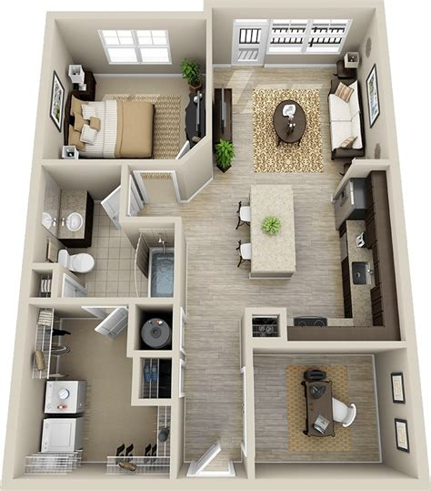 50 one 1 bedroom apartment house plans architecture - Design A Bathroom Floor Plan