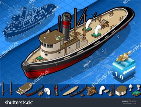 Tugboat Vector Question by Detailed Illustration Of A Isometric Tugboat
