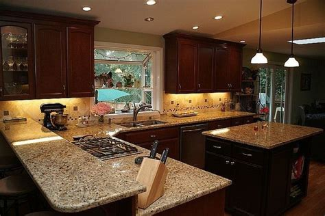 tops kitchen cabinets venitian gold granite with back splash new venetian gold 2871