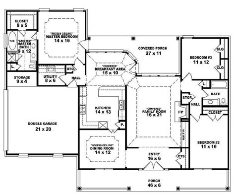 2 Bedroom Open Floor Plans by One Story Open Floor Plans One Story 3 Bedroom 2 Bath