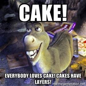 Cake! Everybody loves cake! Cakes have layers! | Donkey ...