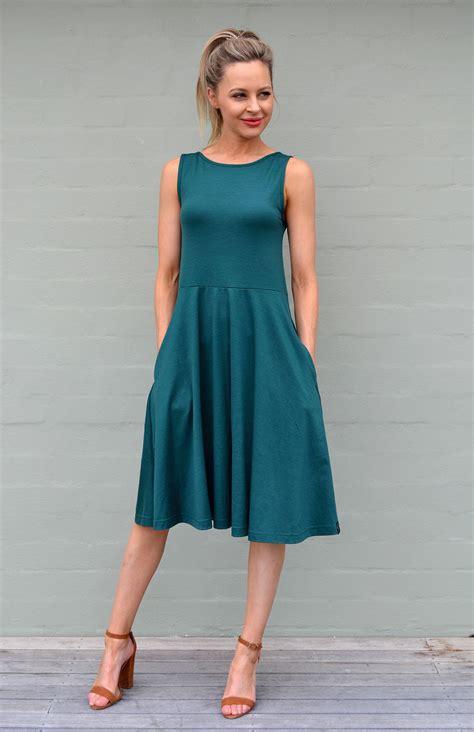 maryann dress womens emerald green merino wool