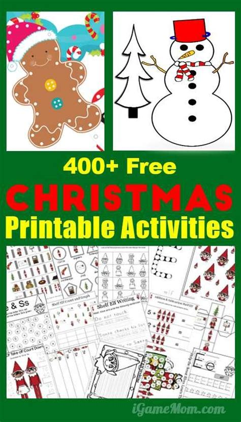 christmas learning printable activities  kids