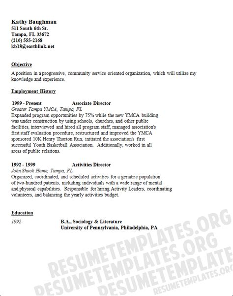 dowload a community service resume template for free