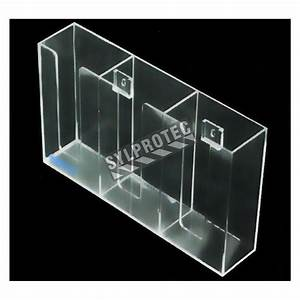 Clear acrylic glove box holder with 3 vertical bins.