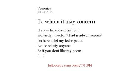 to whom it may concern by hello poetry
