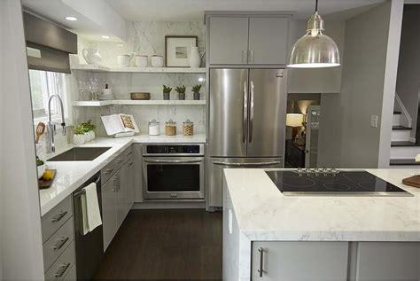 white upper cabinets gray  cabinets transitional kitchen sarah richardson design