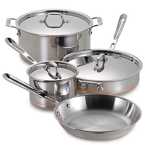 clad copper core  piece cookware set  open stock bed bath