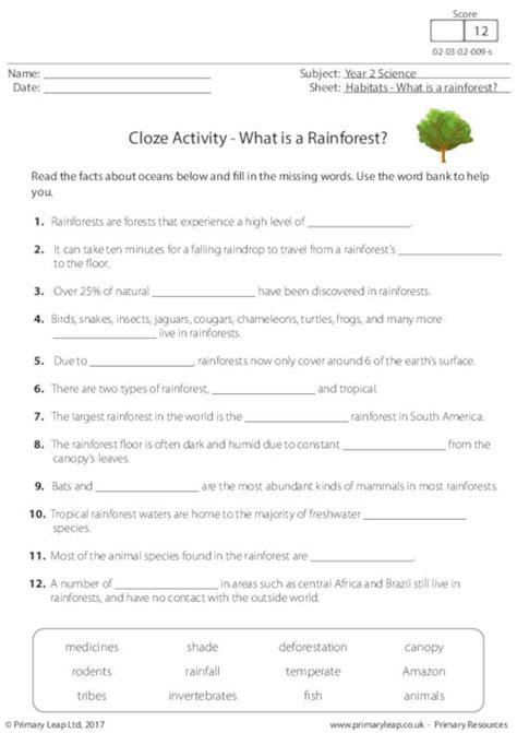 cloze activity what is a rainforest primaryleap co uk