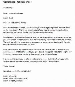 complaint response letter letter of recommendation With replying to a complaint letter template