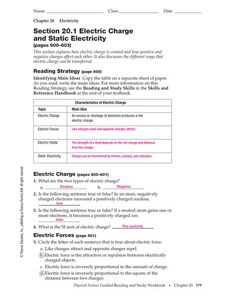 section 1 electric charge static electricity worksheet worksheets for school leafsea
