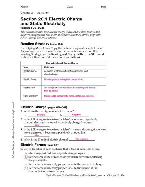 Free Printable Static Electricity Worksheet Answers Goodsnyccom