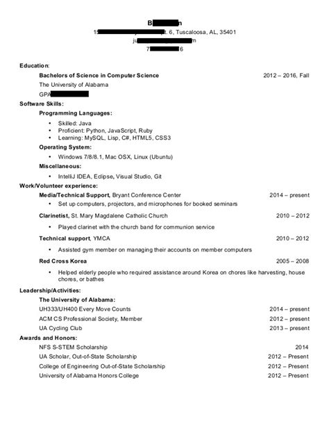 Sle Resume Computer Science Graduate by Cs Resume Reddit 28 Images Letter Cover Letter Sle
