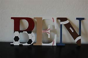 Sports themed nursery letters baby boy piquet needs a name for Nursery letters boy