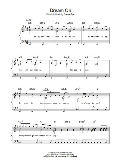 dream  sheet  aerosmith beginner piano