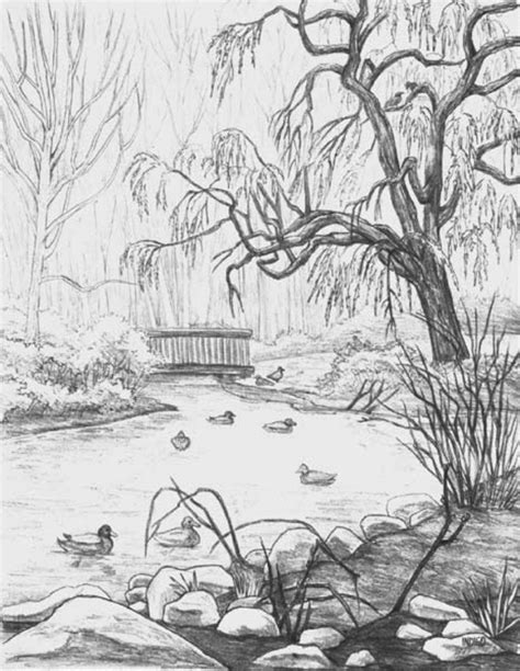 easy landscape drawings landscape sketching  beginners