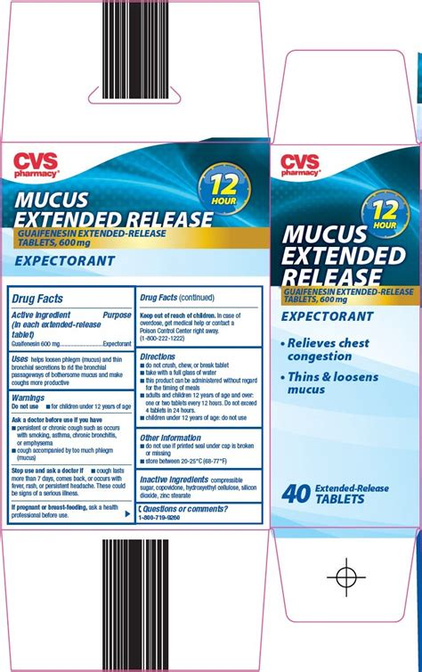Mucus extended release (CVS Pharmacy) GUAIFENESIN 600mg ...