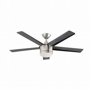 Quot brushed nickel led light indoor ceiling fan with