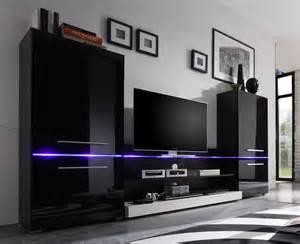 schlafzimmer hochglanz wohnwand modern 3 teilig inkl beleuchtung hochglanz schwarz schrank info schrank info