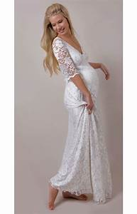 White orchid lace maternity wedding gown maternity for White maternity wedding dress