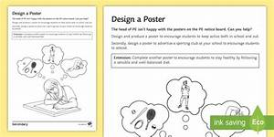 PE Cover Lesson - Design a Poster Worksheet / Activity Sheet