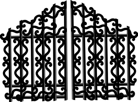 Cartoon Black Wrought Iron Fence Png Element