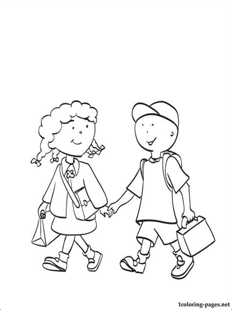 caillou  clementine coloring page coloring pages
