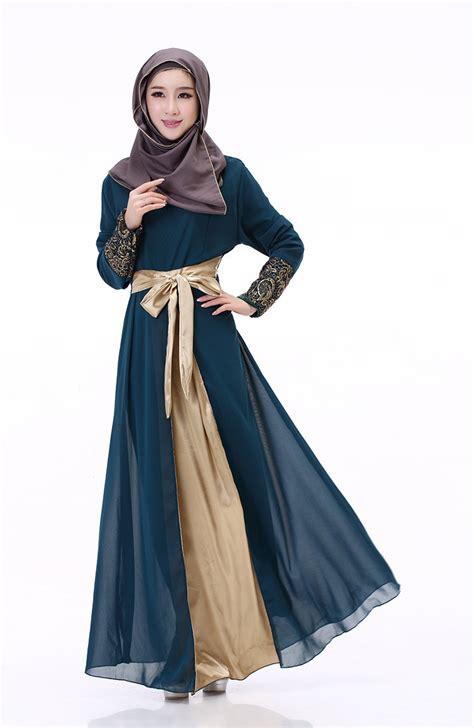 women spring long sleeve muslim maxi slim dress