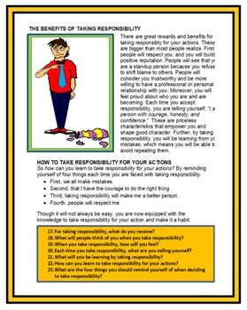 social skills  responsibility life skills lesson tpt