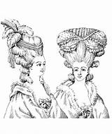 Marie Antoinette Coloring Pages Illustration Adult Adults Royal Queens Hairdressing 1880 Hairdresser Woman Kings French Fairy Getcolorings sketch template