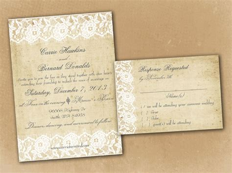 vintage rustic wedding invitation templates wedding encaje