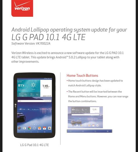 android update 5 1 verizon lg g pad 10 1 android 5 0 2 update the android soul