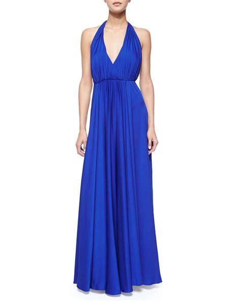 lyst splendid maxi dress milly georgina halter v neck maxi dress in blue lyst