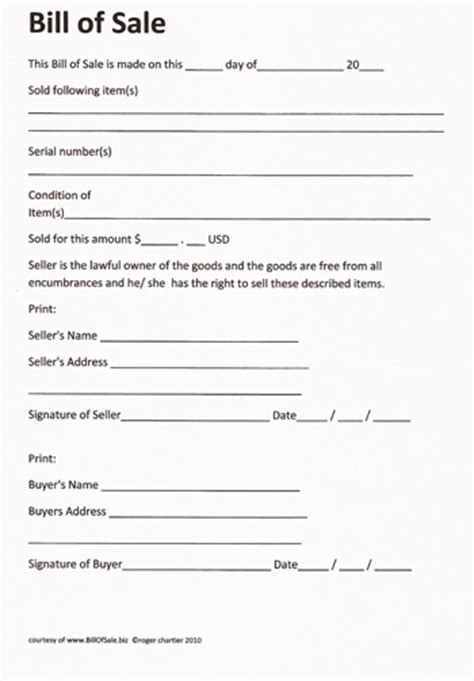 bill ofsale free printable rv bill of sale form form generic