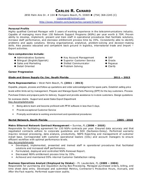 contract administration sle resume