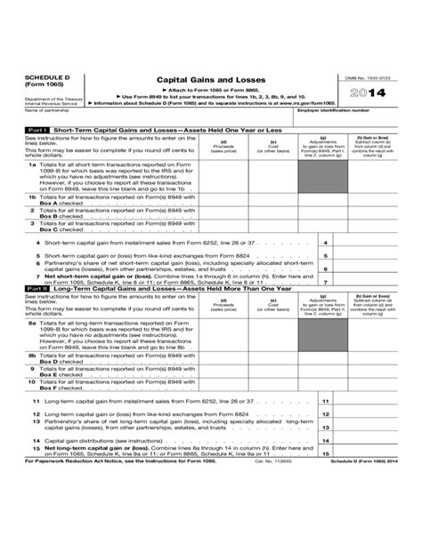 2014 Irs Form 1065 by Form 1065 Schedule D Capital Gains And Losses 2014