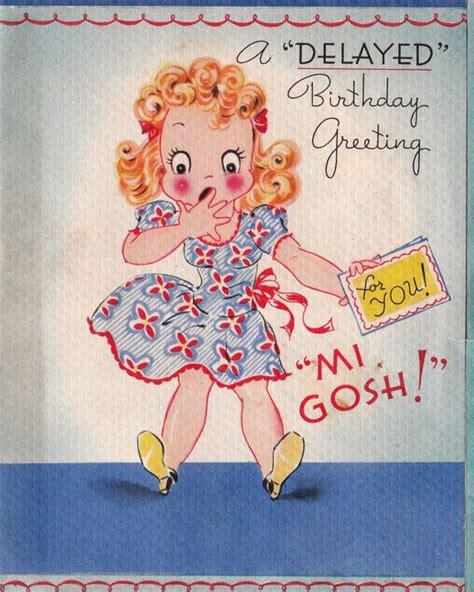 birthday  images belated birthday card vintage