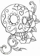 Skull Coloring Sugar Roses Simple Drawing Skulls Owl Printable Rose Pdf Crossbones Teenagers Drawings Adults Candy Heart Halloween Getdrawings Mandala sketch template