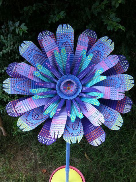 large purple blue handmade tin can flower garden decor