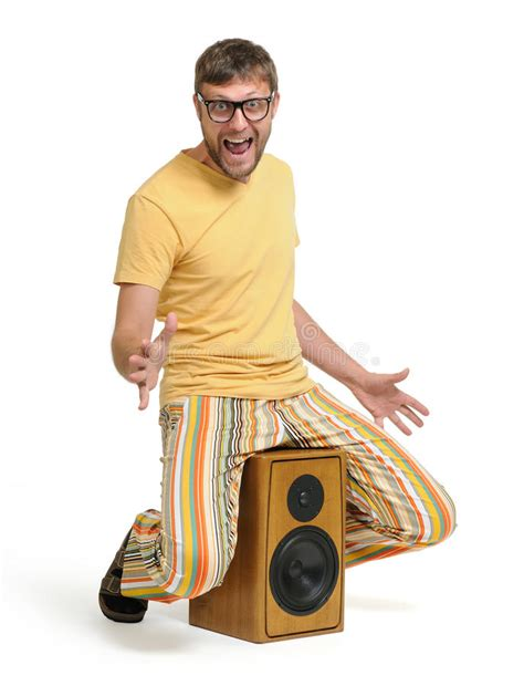 Funny Man Dancing On The Speaker Stock Photo Image Of