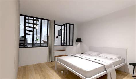 papier peint chambre parentale loft industriel réorganisé sur 4 plateaux architecte d
